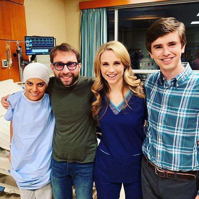 Fiona Gubelmann with the cast of The Good Doctor