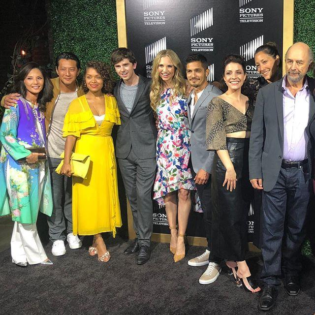 Paige Spara with Star Cast of the good doctor