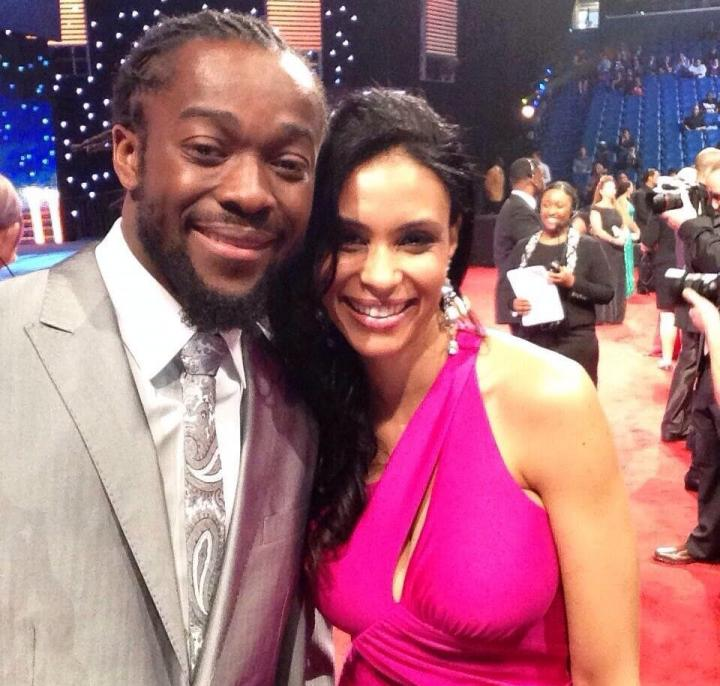 Kofi Kingston with kind, Wife Kori Campfield